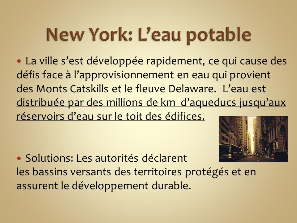 New York: L'eau potable