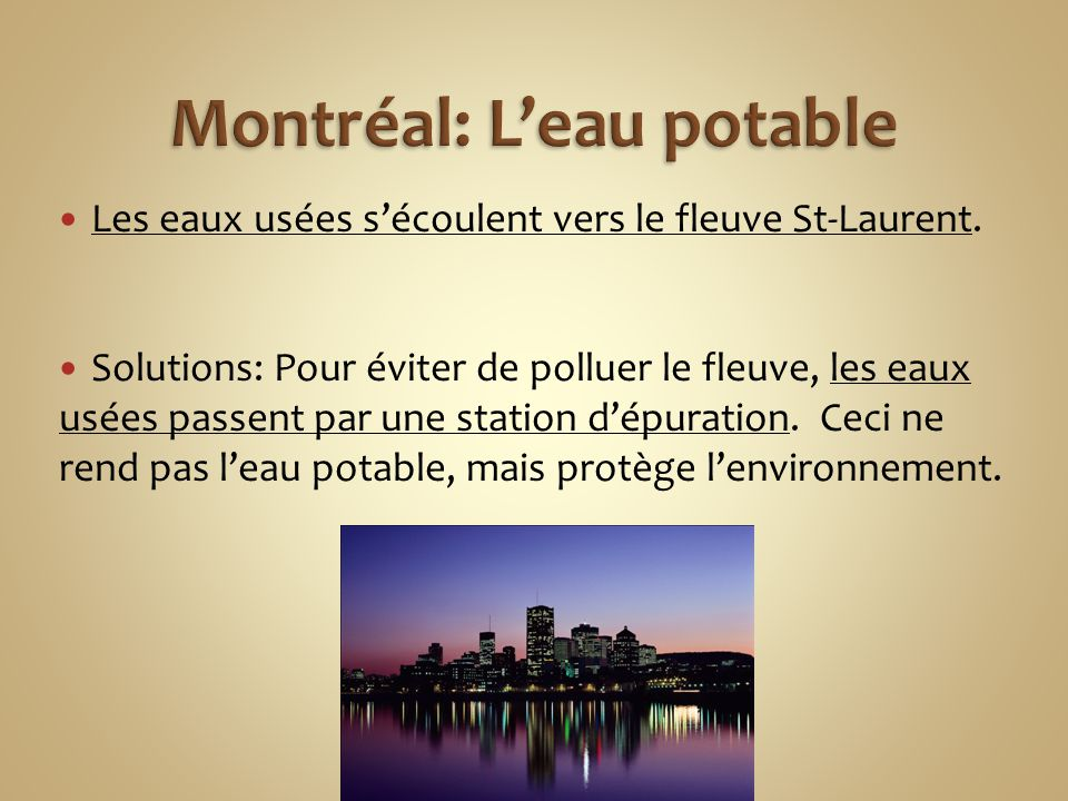 Montréal: L'eau potable