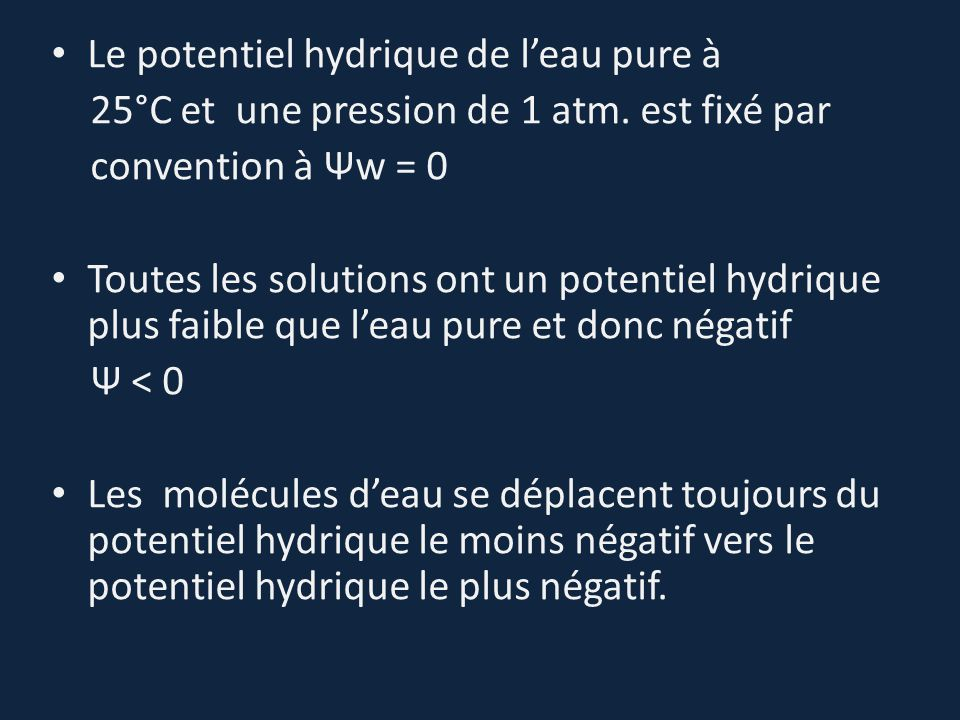 Le potentiel hydrique de l'eau pure à
