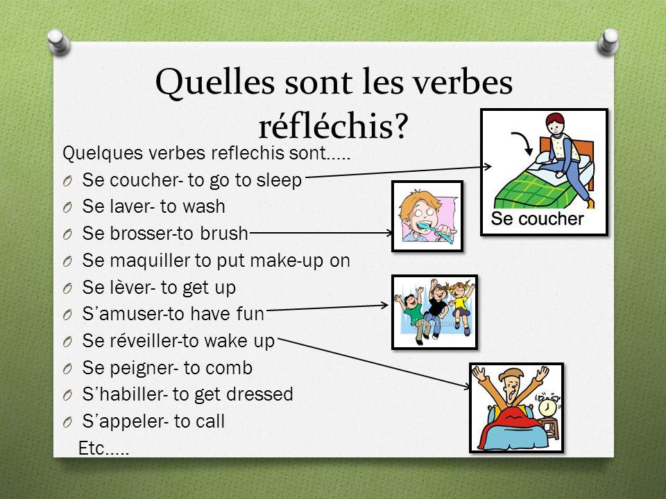 Quelles sont les verbes réfléchis