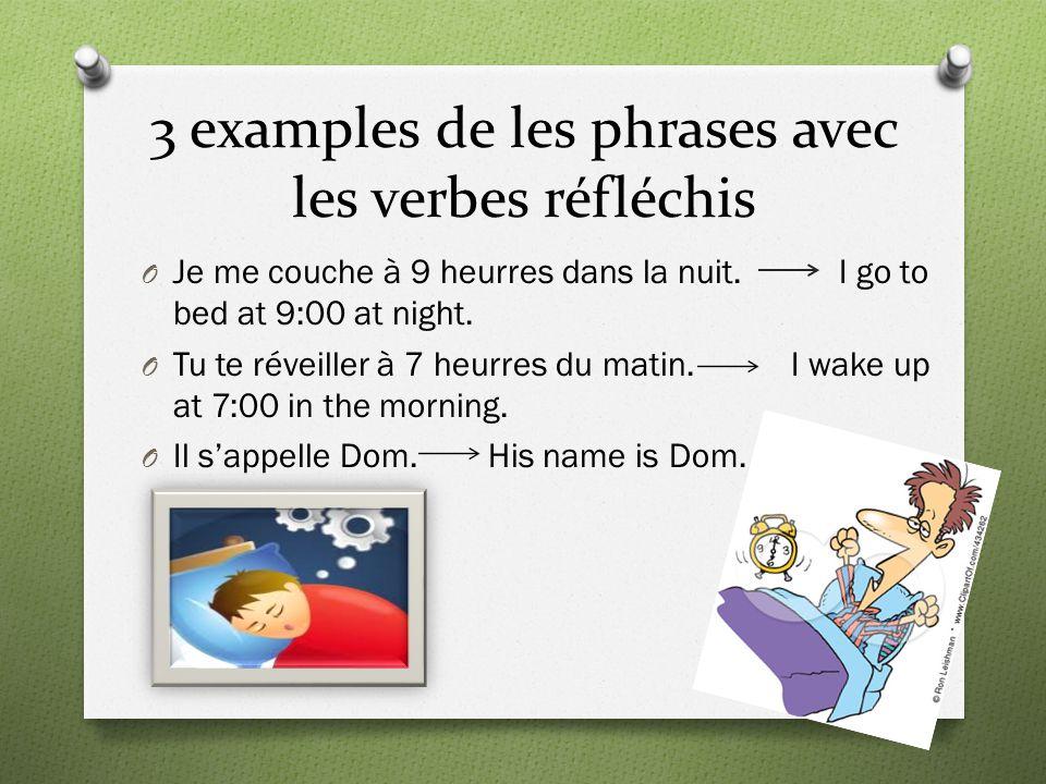 3 examples de les phrases avec les verbes réfléchis