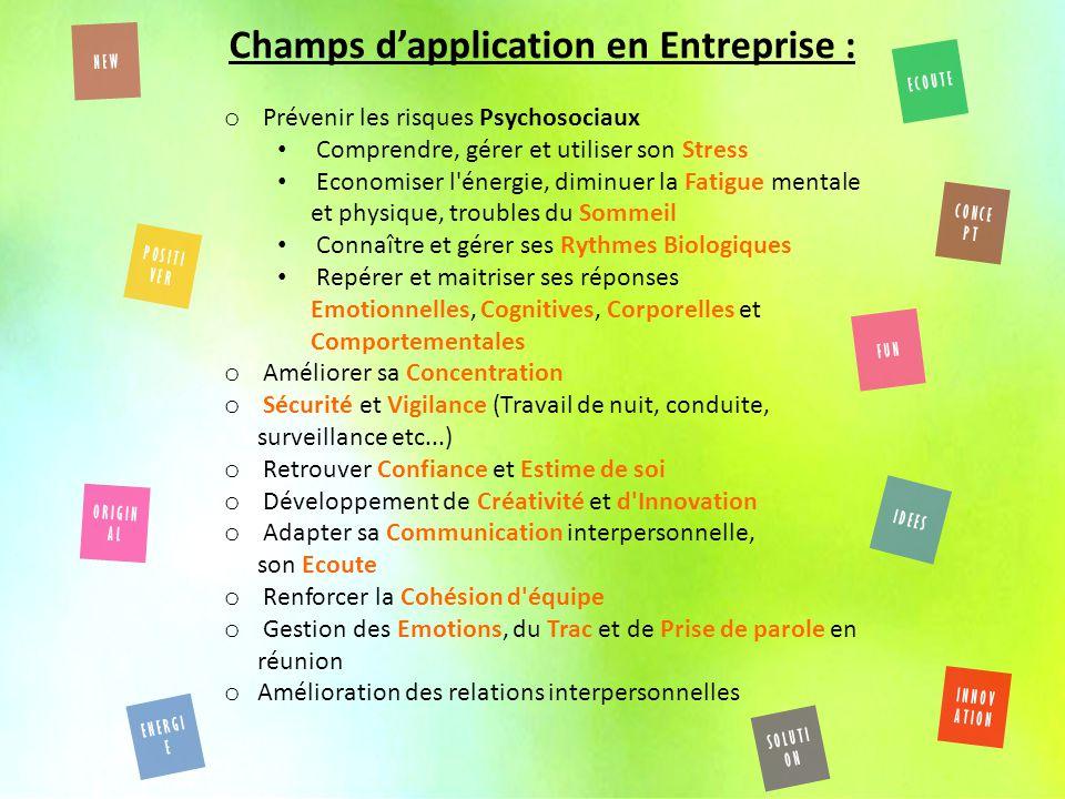Champs d'application en Entreprise :
