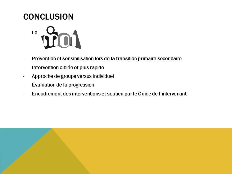 Conclusion Le. Prévention et sensibilisation lors de la transition primaire-secondaire. Intervention ciblée et plus rapide.