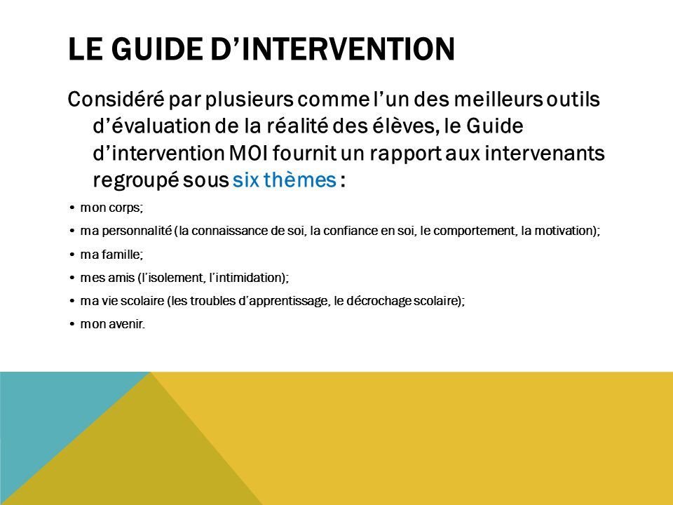 Le Guide d'intervention
