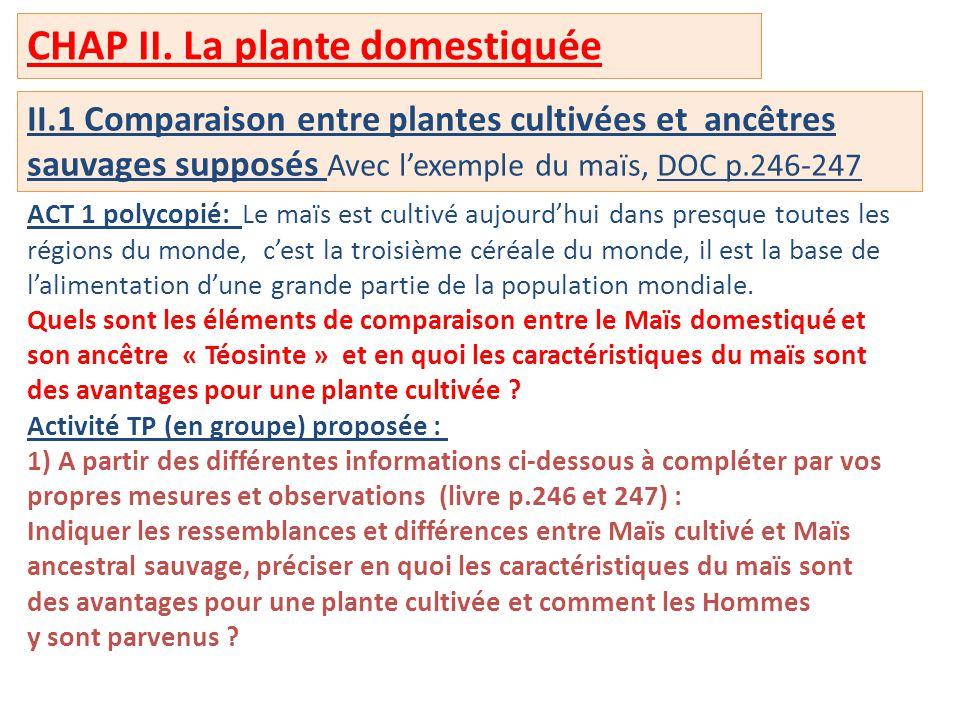 CHAP II. La plante domestiquée