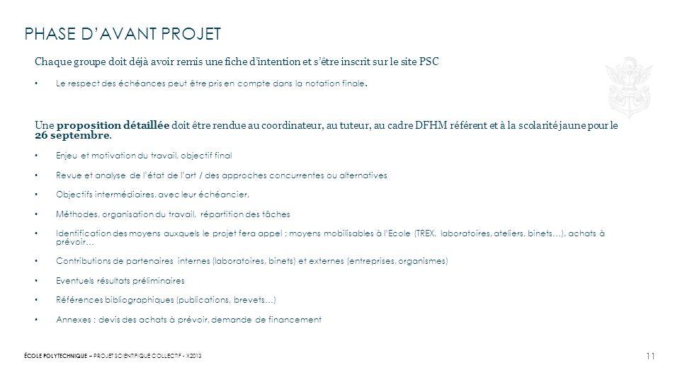 PHASE D'AVANT PROJET Chaque groupe doit déjà avoir remis une fiche d'intention et s'être inscrit sur le site PSC.