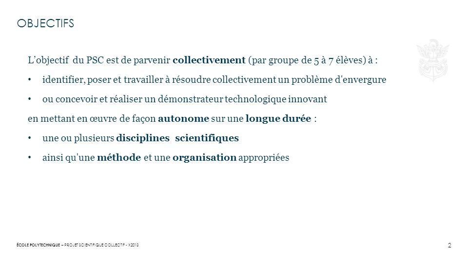 OBJECTIFS L'objectif du PSC est de parvenir collectivement (par groupe de 5 à 7 élèves) à :