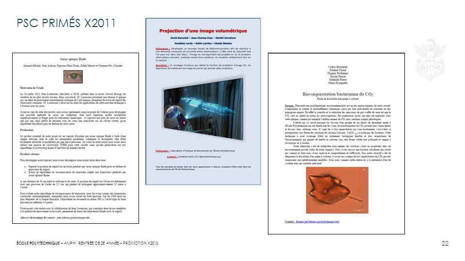 Psc primés X2011 Amphi rentrée de 2e année – promotion x2013