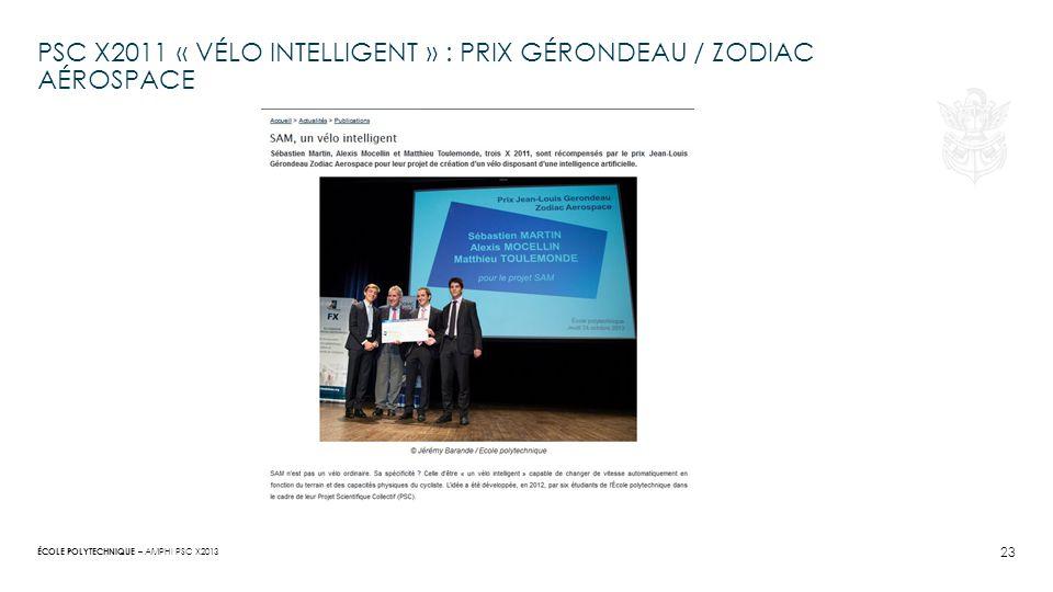 PSC X2011 « Vélo intelligent » : prix gérondeau / zodiac Aérospace