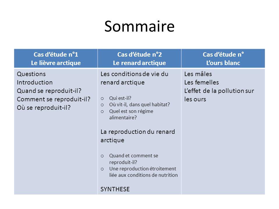 Sommaire Cas d'étude n°1 Le lièvre arctique Cas d'étude n°2