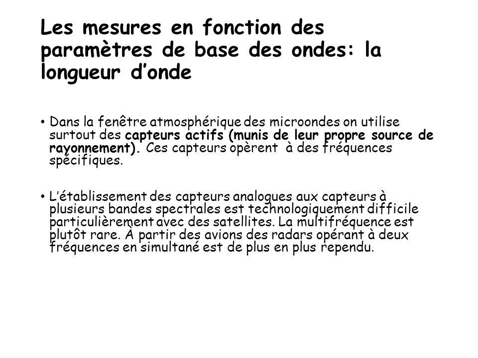 Les mesures en fonction des paramètres de base des ondes: la longueur d'onde