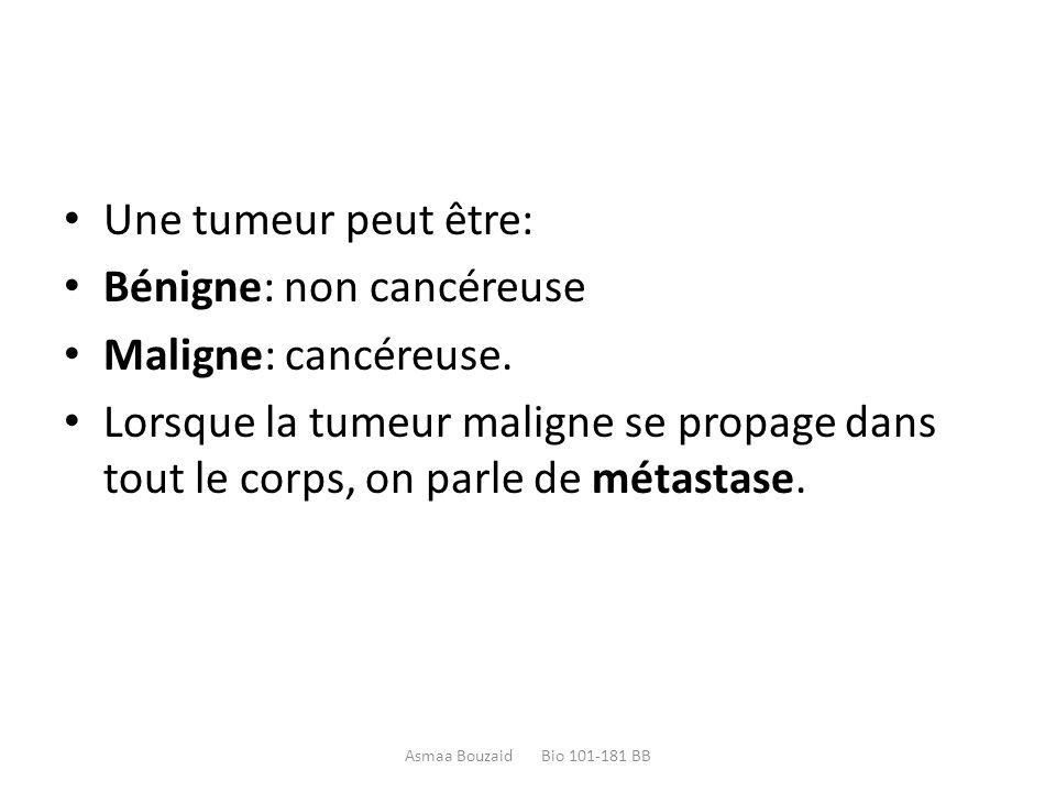 Bénigne: non cancéreuse Maligne: cancéreuse.