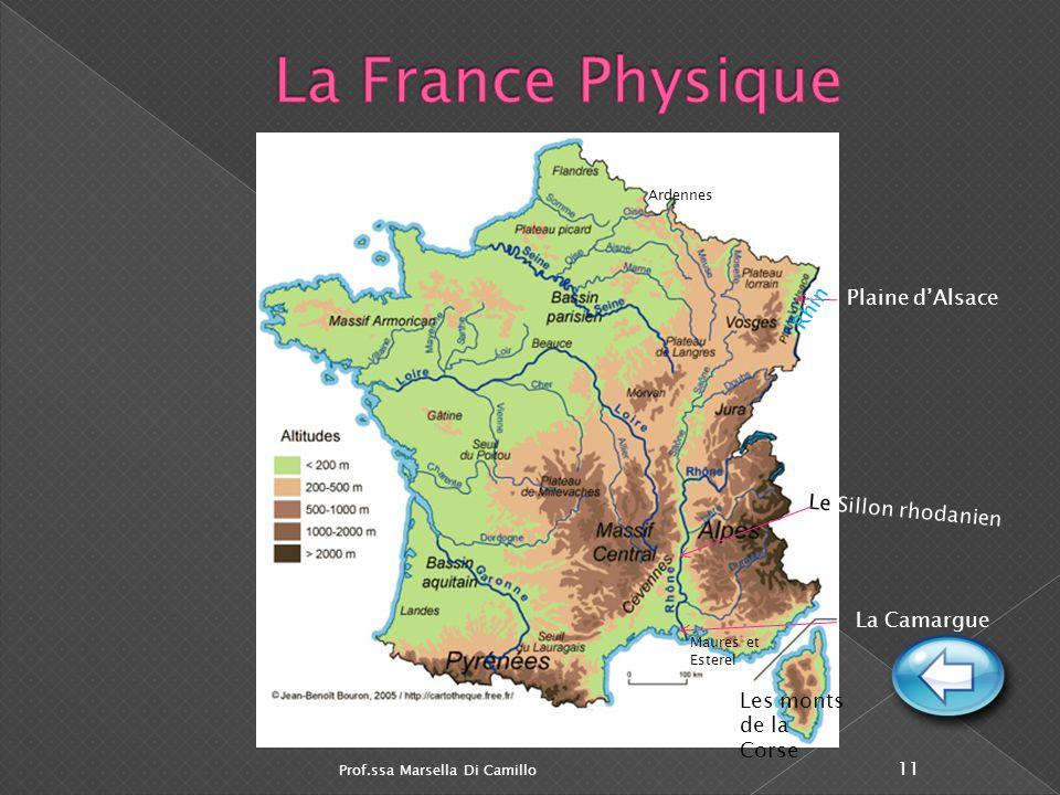La France Physique Rhin Plaine d'Alsace Le Sillon rhodanien