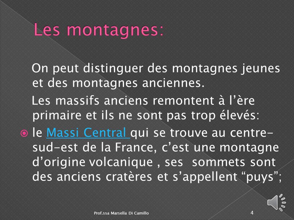 Les montagnes: On peut distinguer des montagnes jeunes et des montagnes anciennes.
