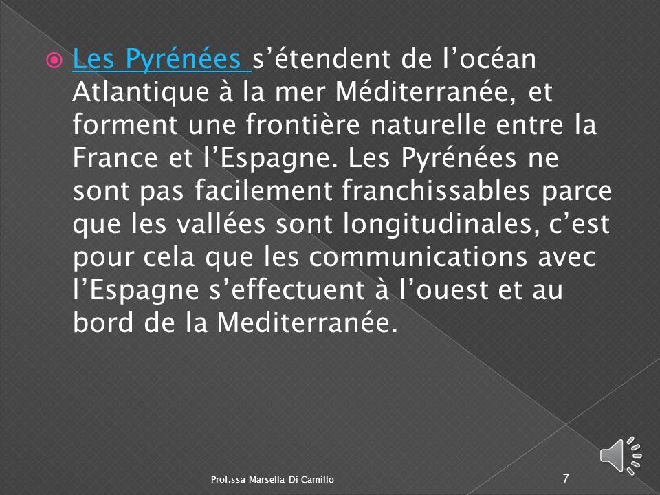 Les Pyrénées s'étendent de l'océan Atlantique à la mer Méditerranée, et forment une frontière naturelle entre la France et l'Espagne. Les Pyrénées ne sont pas facilement franchissables parce que les vallées sont longitudinales, c'est pour cela que les communications avec l'Espagne s'effectuent à l'ouest et au bord de la Mediterranée.