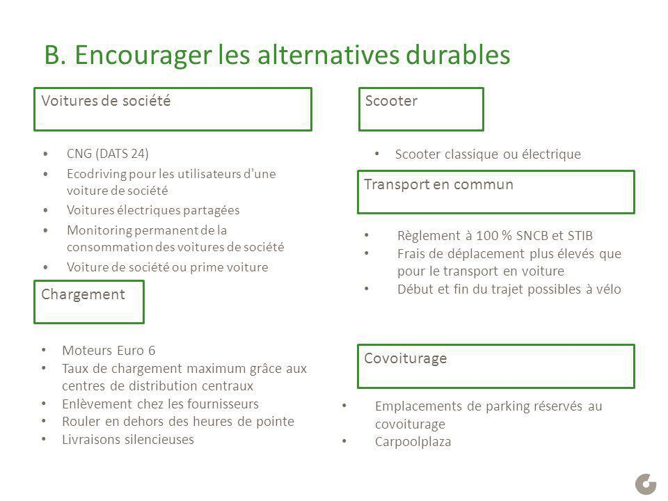 B. Encourager les alternatives durables