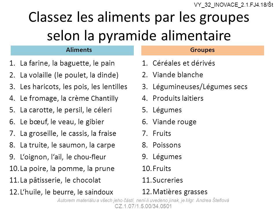 Classez les aliments par les groupes selon la pyramide alimentaire