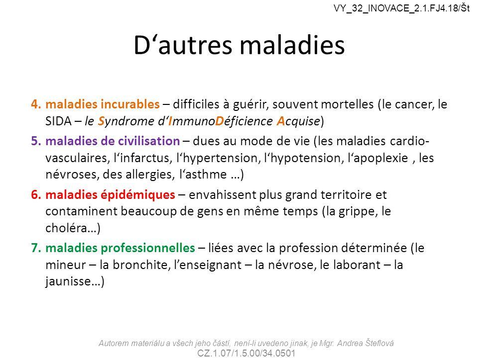 VY_32_INOVACE_2.1.FJ4.18/Št D'autres maladies.