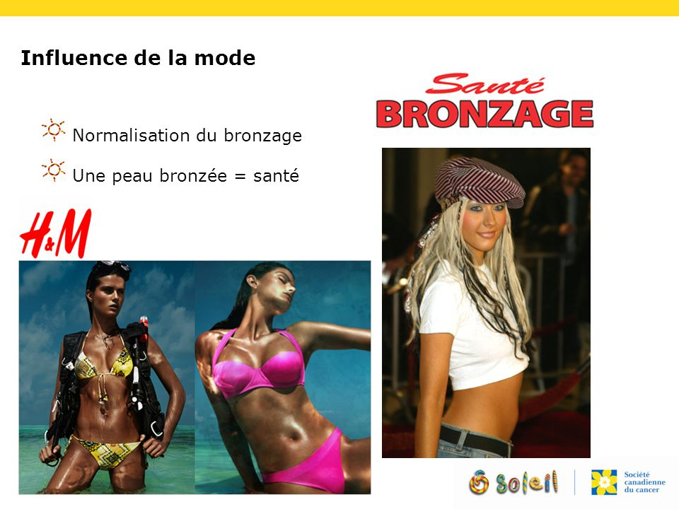 Influence de la mode Normalisation du bronzage