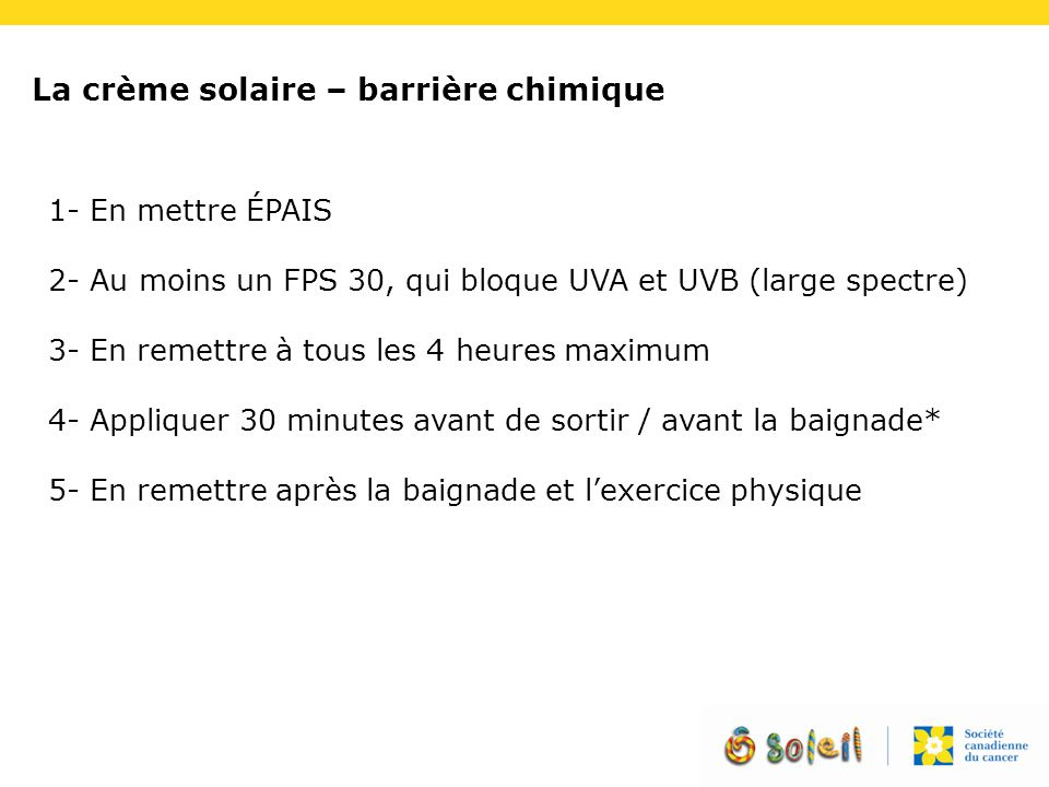La crème solaire – barrière chimique