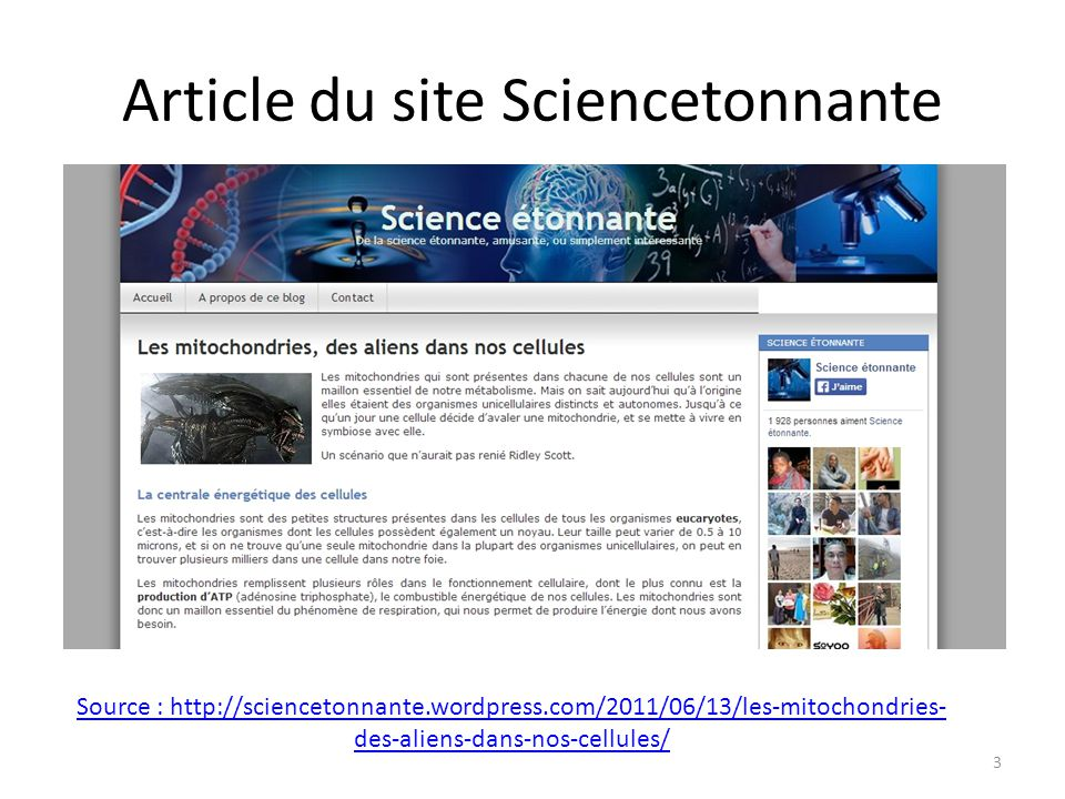Article du site Sciencetonnante