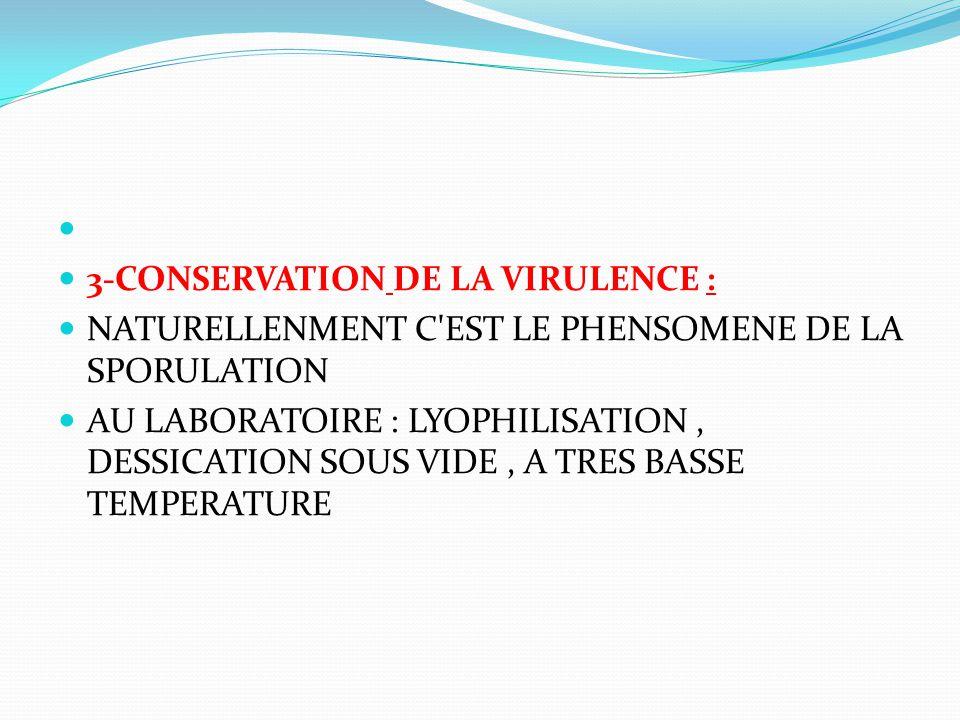 3-CONSERVATION DE LA VIRULENCE : NATURELLENMENT C EST LE PHENSOMENE DE LA SPORULATION.