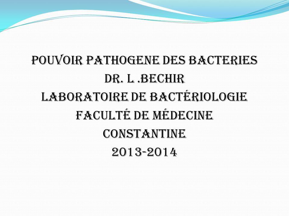 POUVOIR PATHOGENE DES BACTERIES DR. L