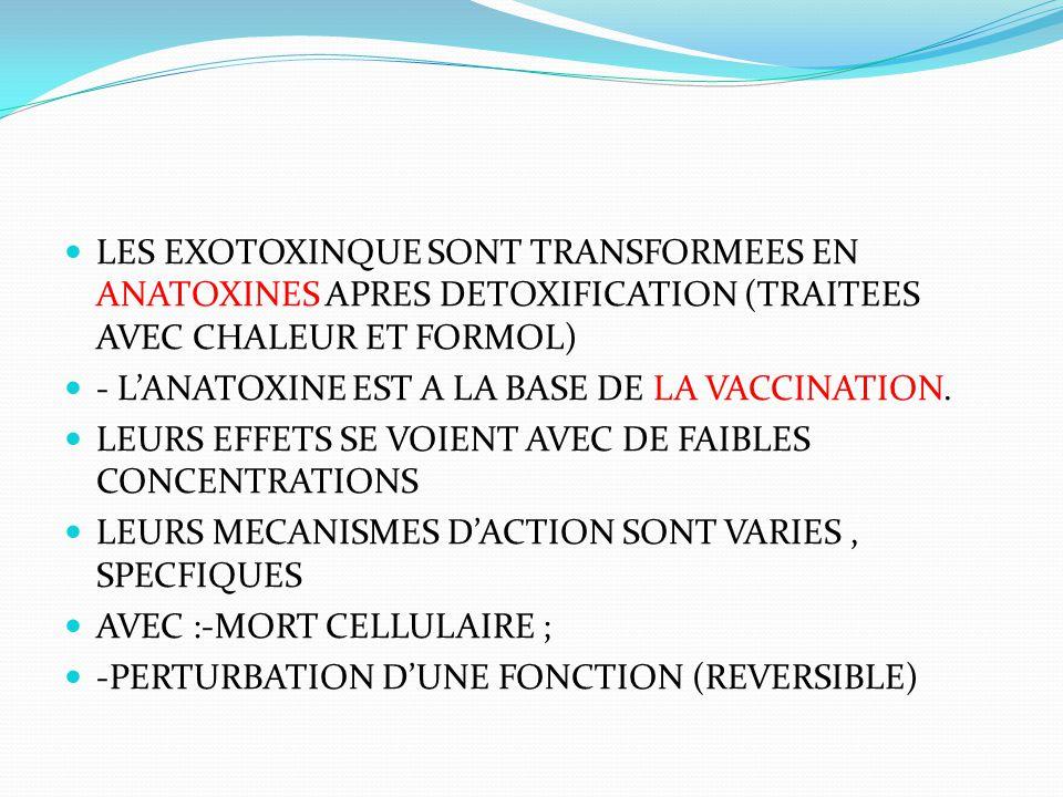 LES EXOTOXINQUE SONT TRANSFORMEES EN ANATOXINES APRES DETOXIFICATION (TRAITEES AVEC CHALEUR ET FORMOL)