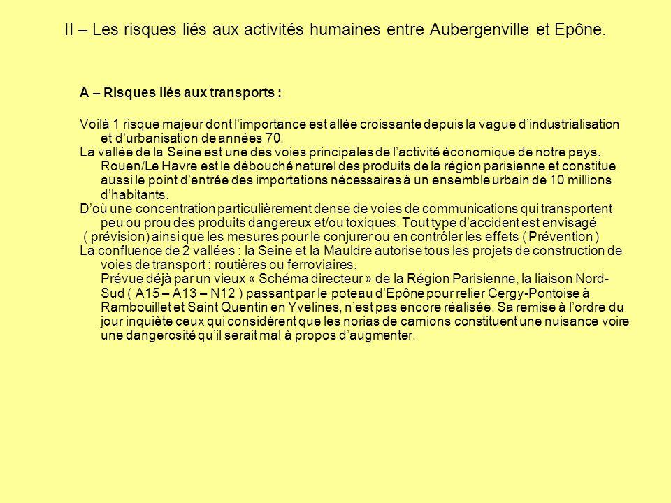 II – Les risques liés aux activités humaines entre Aubergenville et Epône.