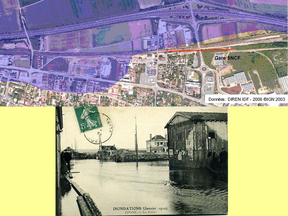 - Les parties basses du Poteau d'Epône jusqu'à la Seine ont connu le va et vient des eaux de crue qui recouvraient les cultures maraîchères et les quelques jardins ouvriers des bords de Mauldre.