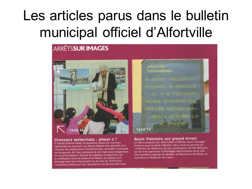 Les articles parus dans le bulletin municipal officiel d'Alfortville