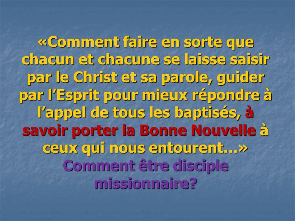«Comment faire en sorte que chacun et chacune se laisse saisir par le Christ et sa parole, guider par l'Esprit pour mieux répondre à l'appel de tous les baptisés, à savoir porter la Bonne Nouvelle à ceux qui nous entourent…» Comment être disciple missionnaire