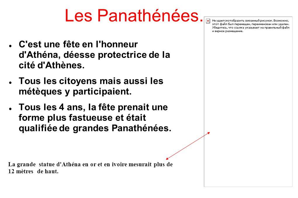 Les Panathénées. C est une fête en l honneur d Athéna, déesse protectrice de la cité d Athènes.