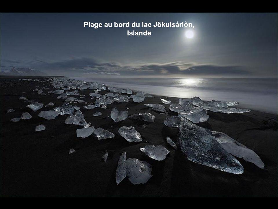 Plage au bord du lac Jökulsárlòn, Islande