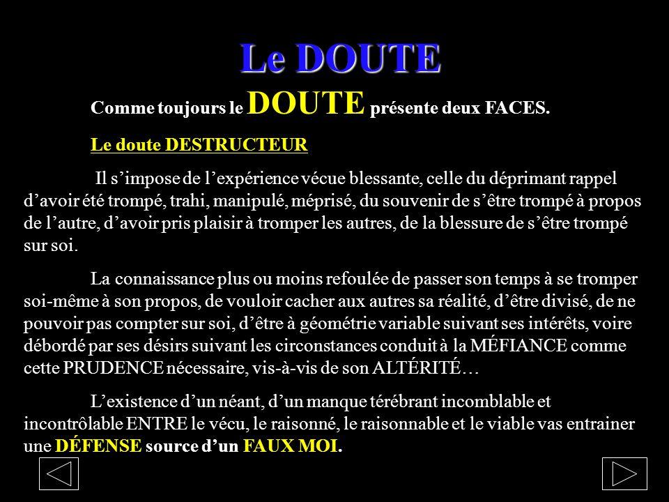 Le DOUTE Comme toujours le DOUTE présente deux FACES.