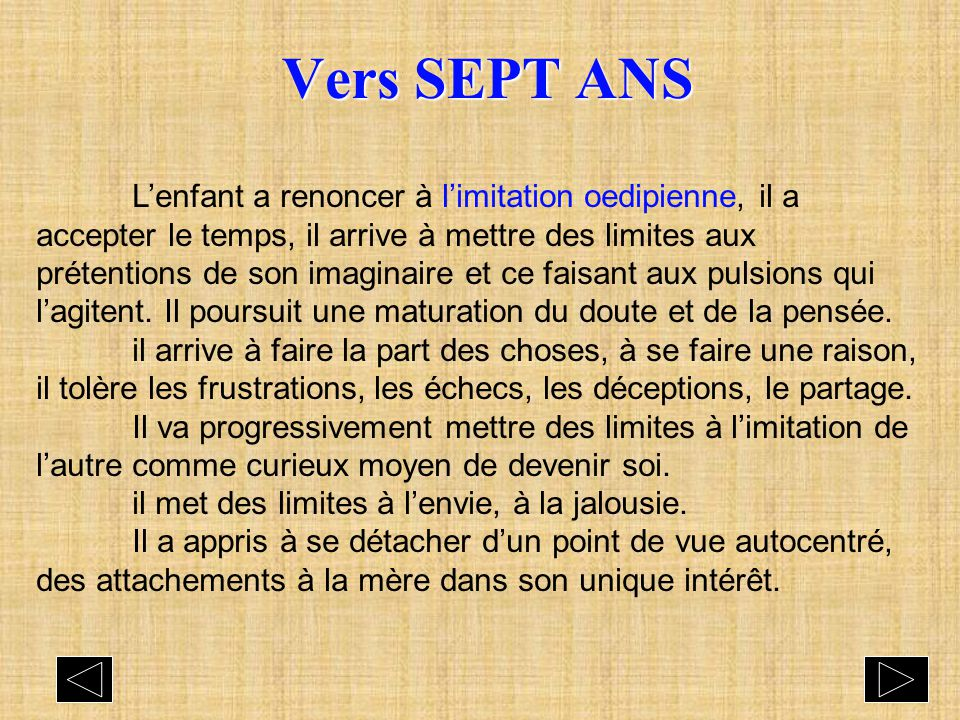 Vers SEPT ANS