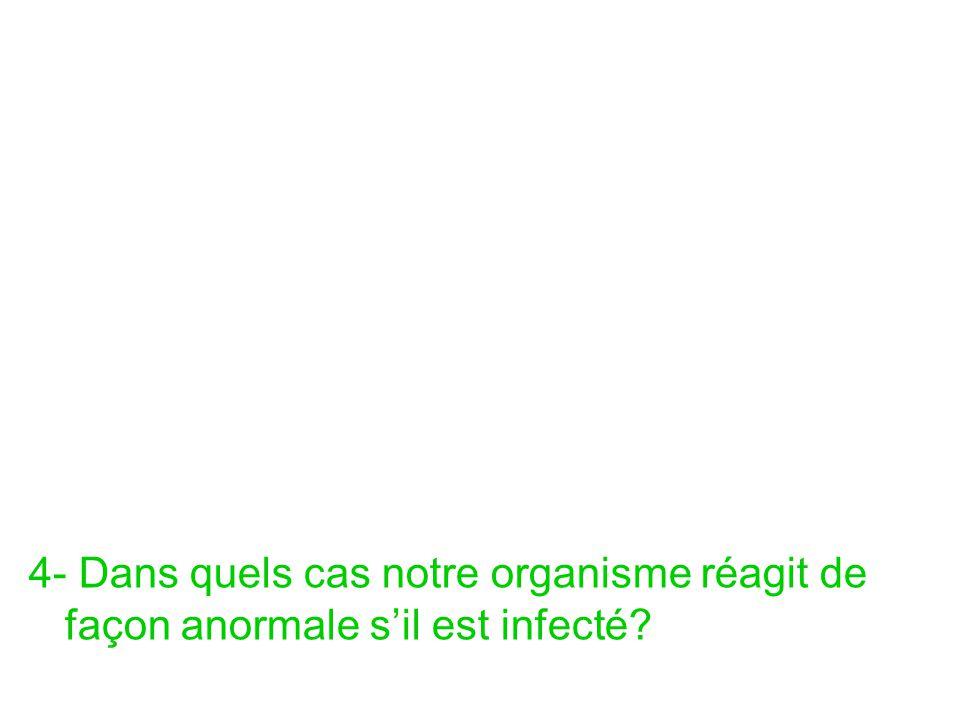 4- Dans quels cas notre organisme réagit de façon anormale s'il est infecté