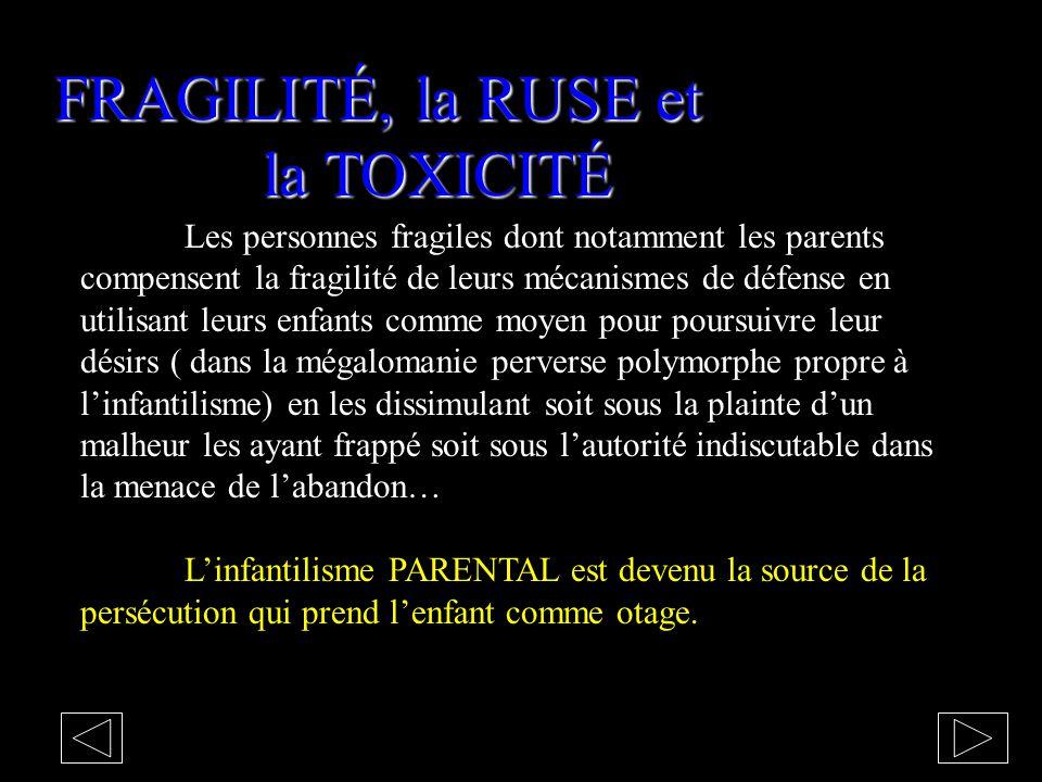 FRAGILITÉ, la RUSE et la TOXICITÉ