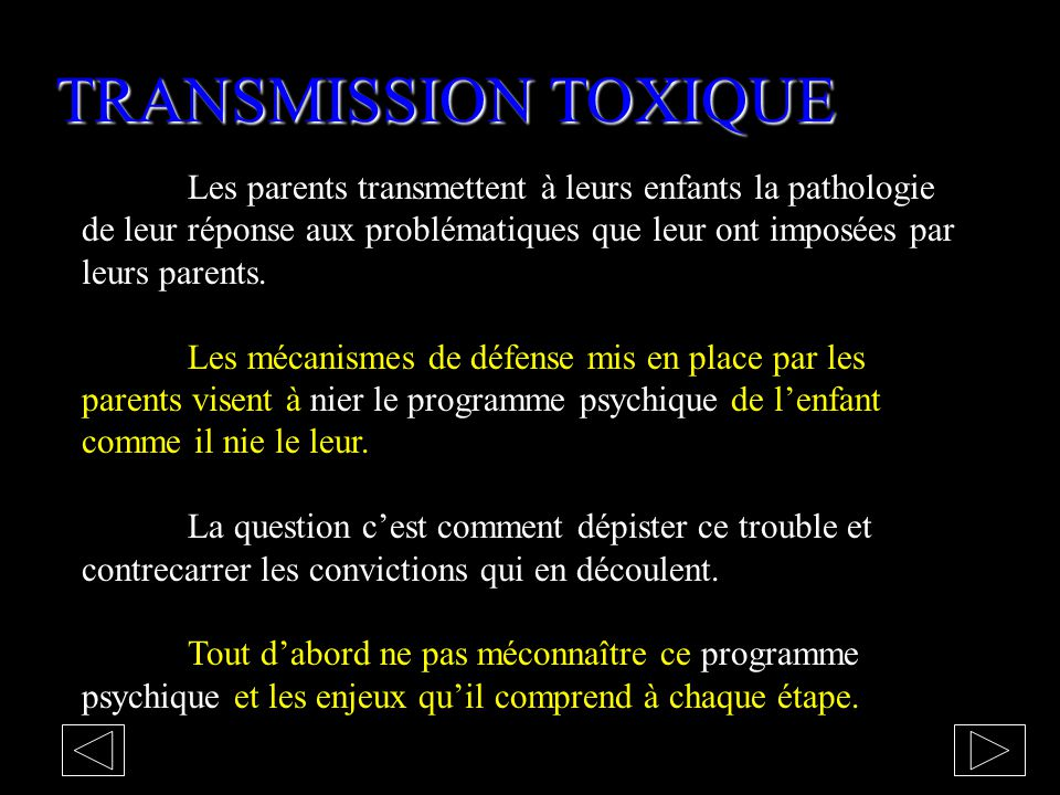 TRANSMISSION TOXIQUE