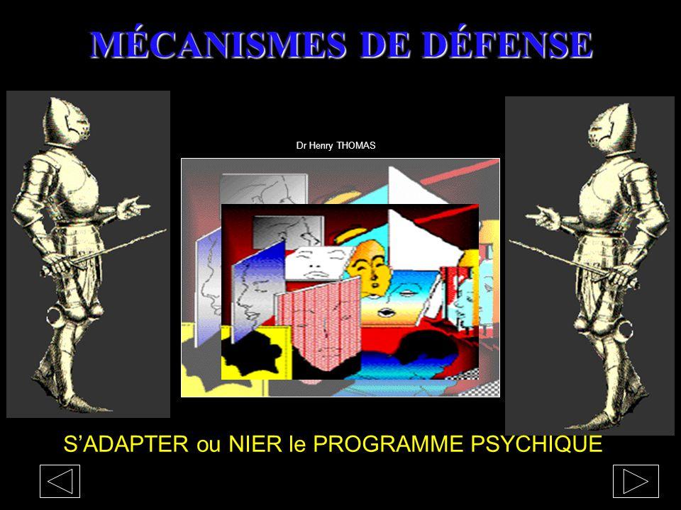 MÉCANISMES DE DÉFENSE S'ADAPTER ou NIER le PROGRAMME PSYCHIQUE