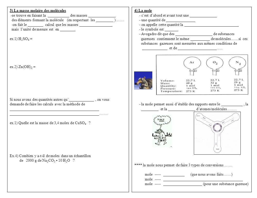 3) La masse molaire des molécules