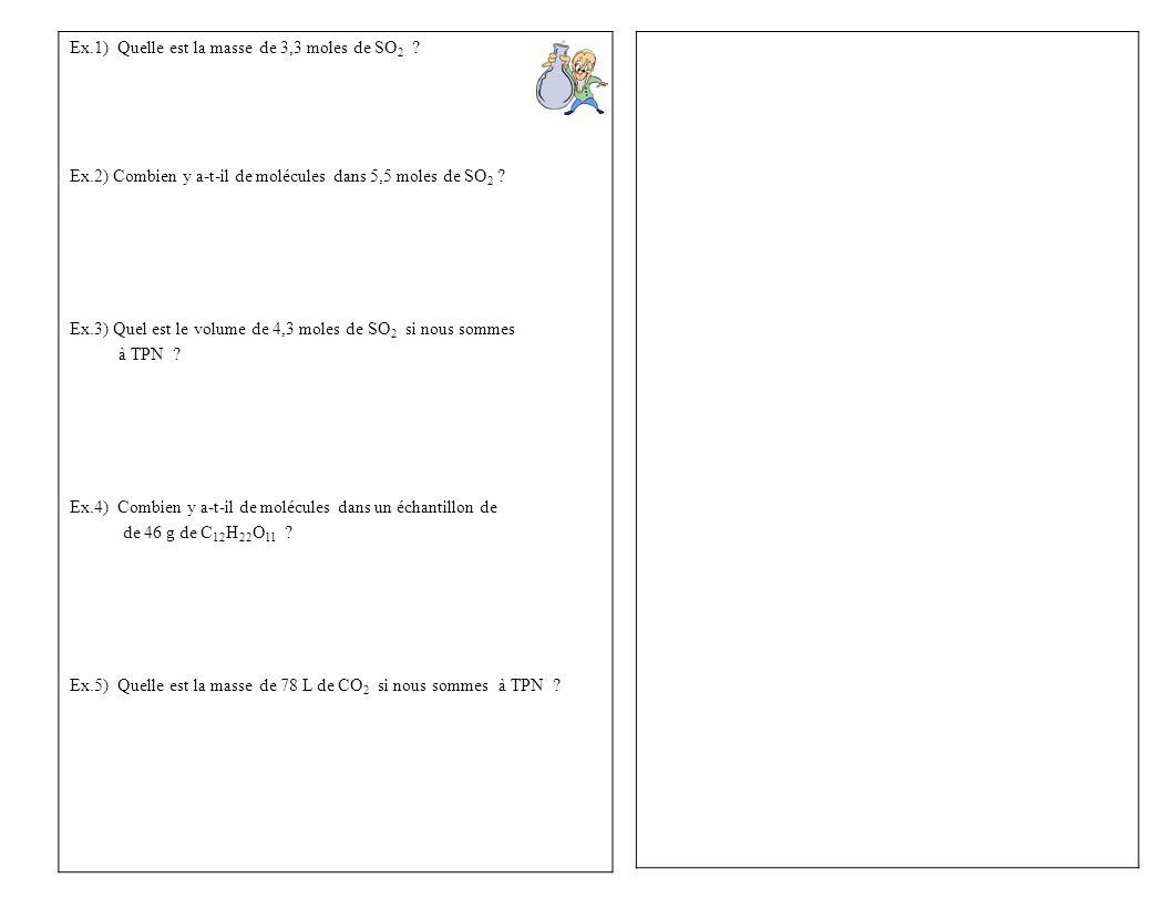 Ex.1) Quelle est la masse de 3,3 moles de SO2