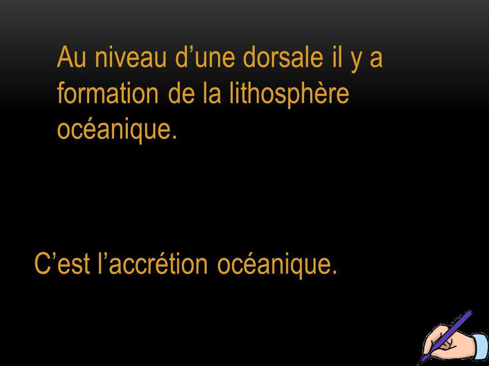 Au niveau d'une dorsale il y a formation de la lithosphère océanique.