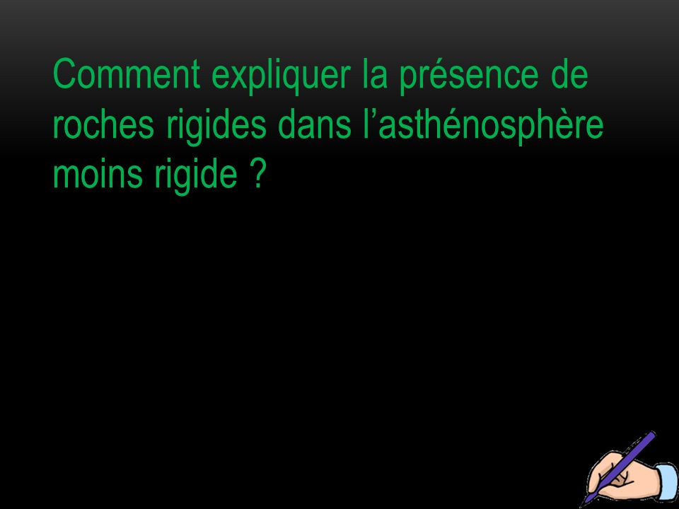 Comment expliquer la présence de roches rigides dans l'asthénosphère moins rigide
