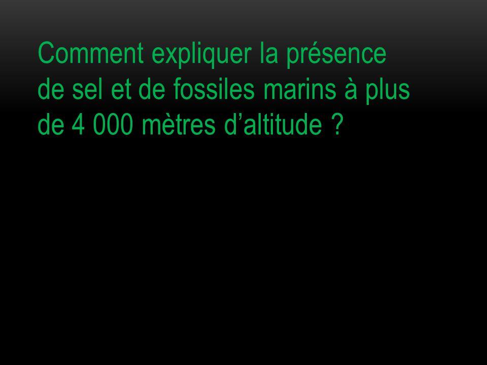 Comment expliquer la présence de sel et de fossiles marins à plus de 4 000 mètres d'altitude