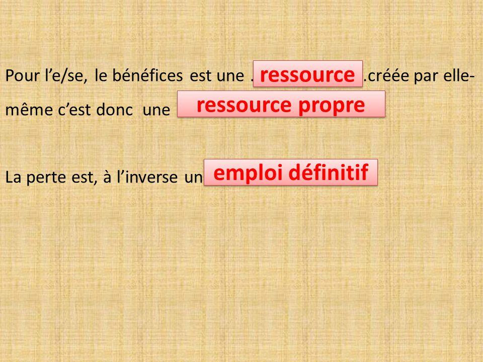 ressource ressource propre emploi définitif