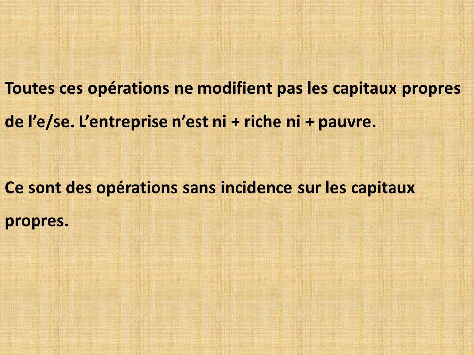 Toutes ces opérations ne modifient pas les capitaux propres de l'e/se
