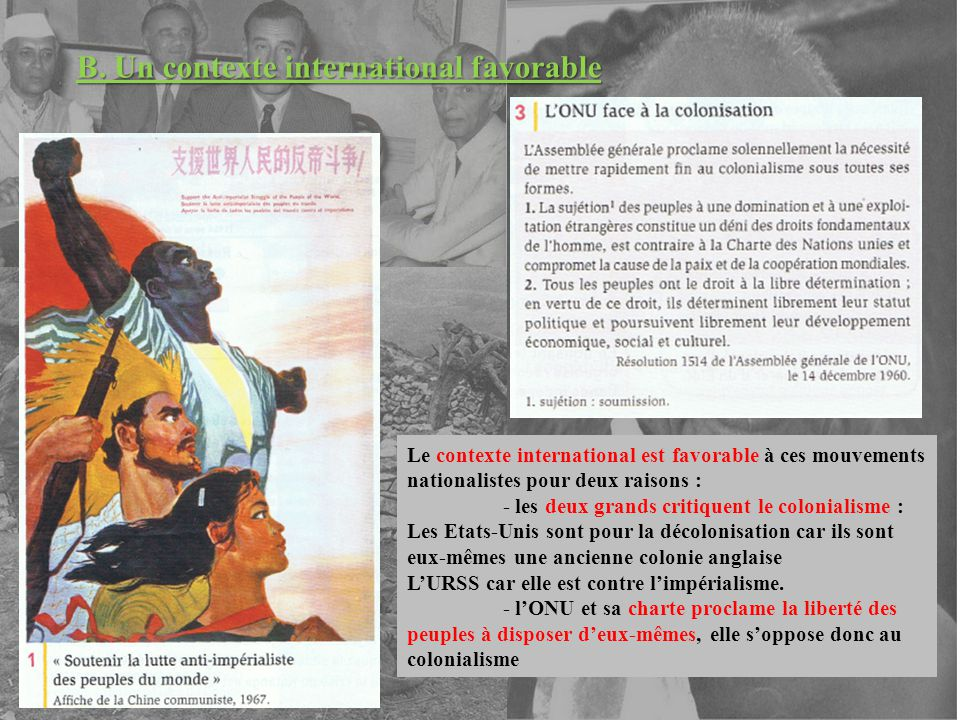 B. Un contexte international favorable