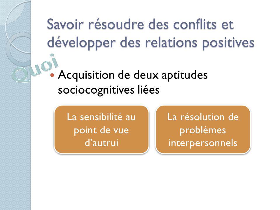 Savoir résoudre des conflits et développer des relations positives