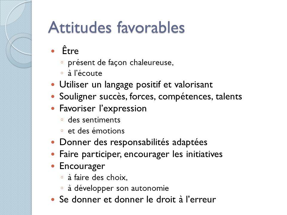 Attitudes favorables Être Utiliser un langage positif et valorisant